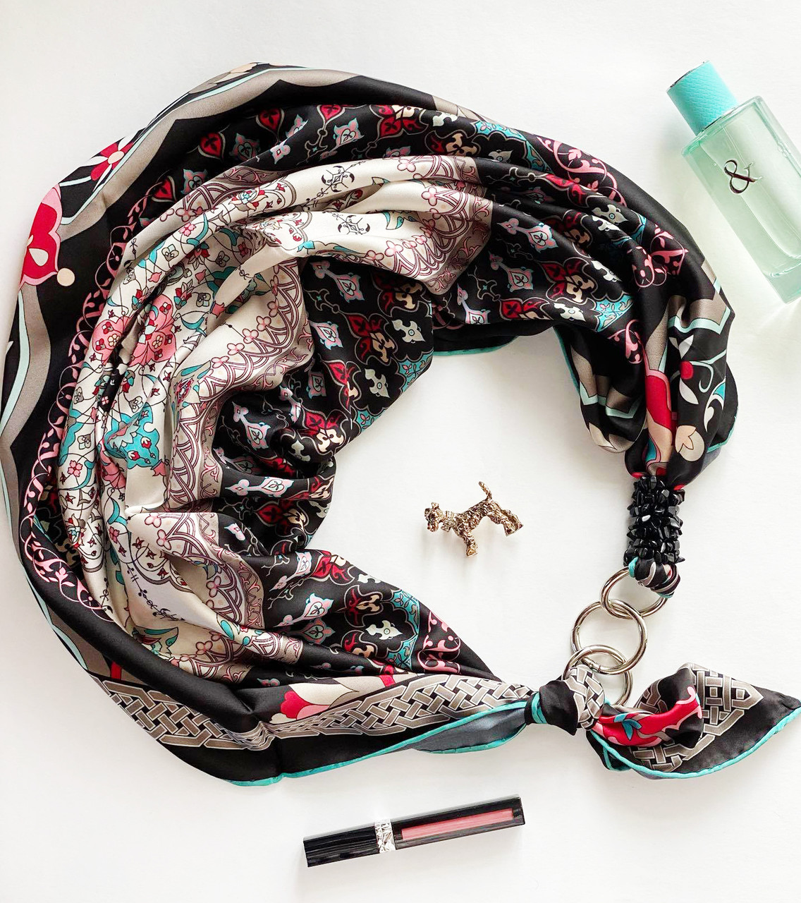"""Шовковий хустку """"блек баккара"""" від бренду my scarf, подарунок жінці. преміум колекція!"""