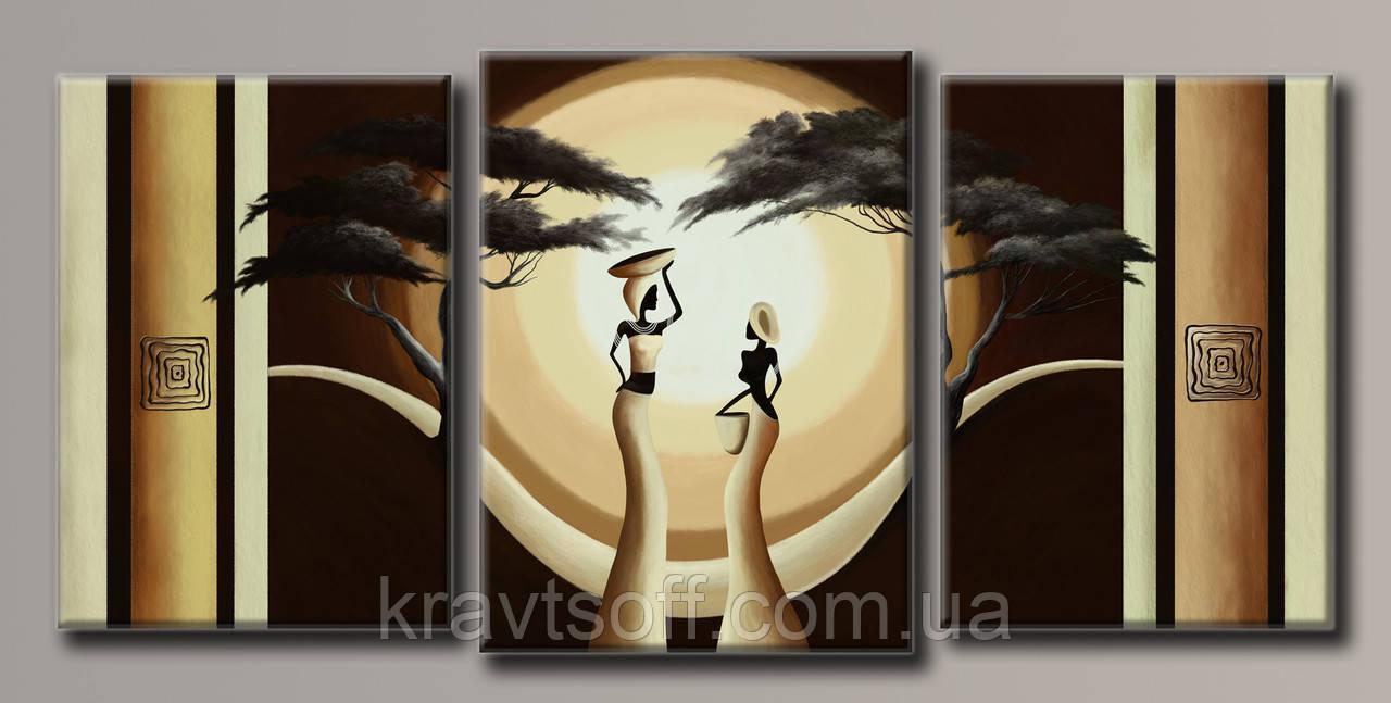 "Модульная картина на холсте из 3-х частей ""Африка"" ( 76.5х162 см ) арт.HAT-164"