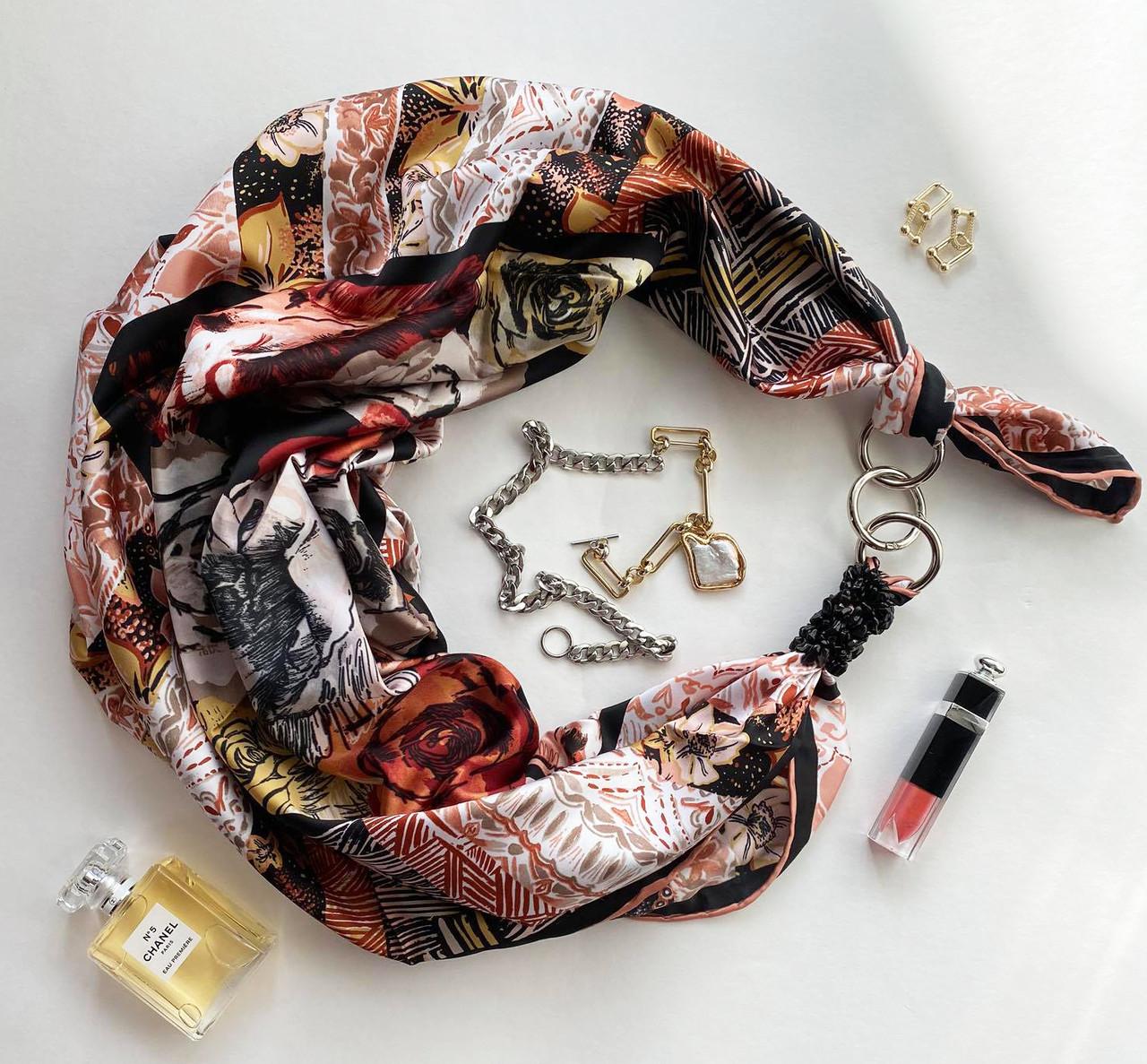 """Шелковый платок """"геометрия любви """" от бренда my scarf, подарок женщине. премиум коллекция!"""