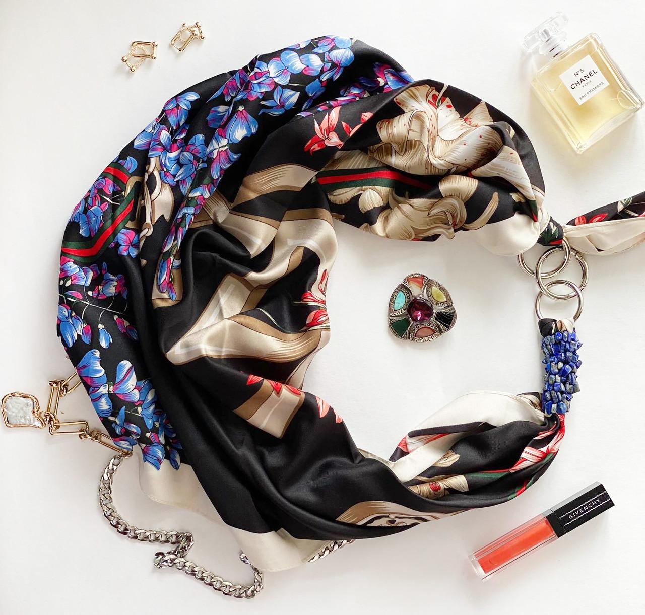 """Дизайнерський хустку """"блакитні незабудки"""" від my scarf, подарунок жінці. преміум колекція!"""