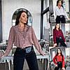 Р 42-56 Женская блуза-рубашка в горох Батал 23658-1