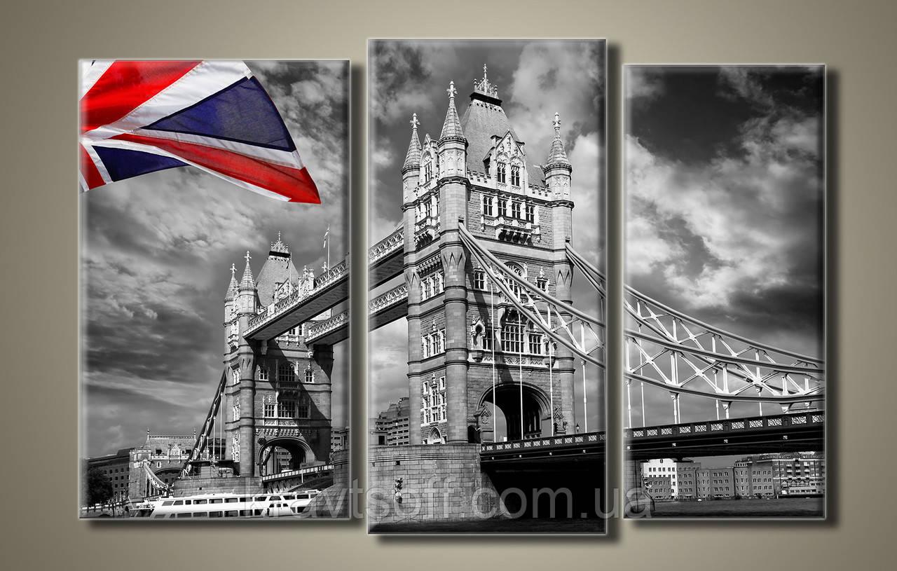 "Модульная картина на холсте из 3-х частей ""Тауэрский мост в Лондоне"" ( 54х82 см ) арт.HAT-043"