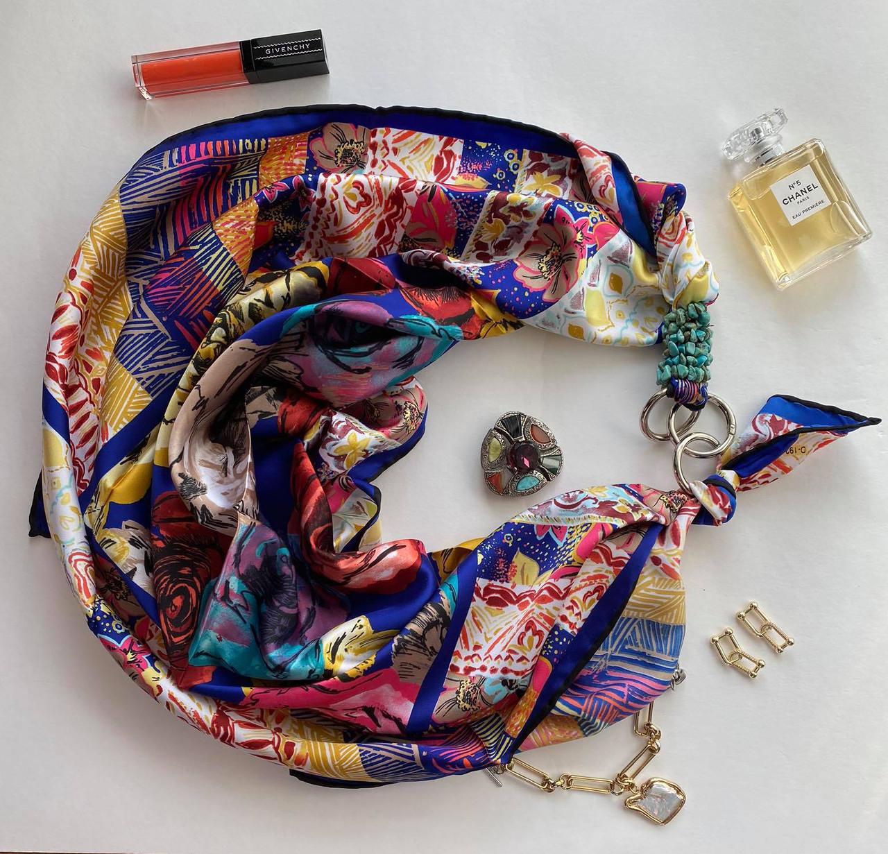 """Шелковый платок """"калейдоскоп цветов"""" от my scarf, подарок женщине. премиум коллекция!"""