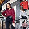 Р 42-56 Женская блуза-рубашка в горох 23658
