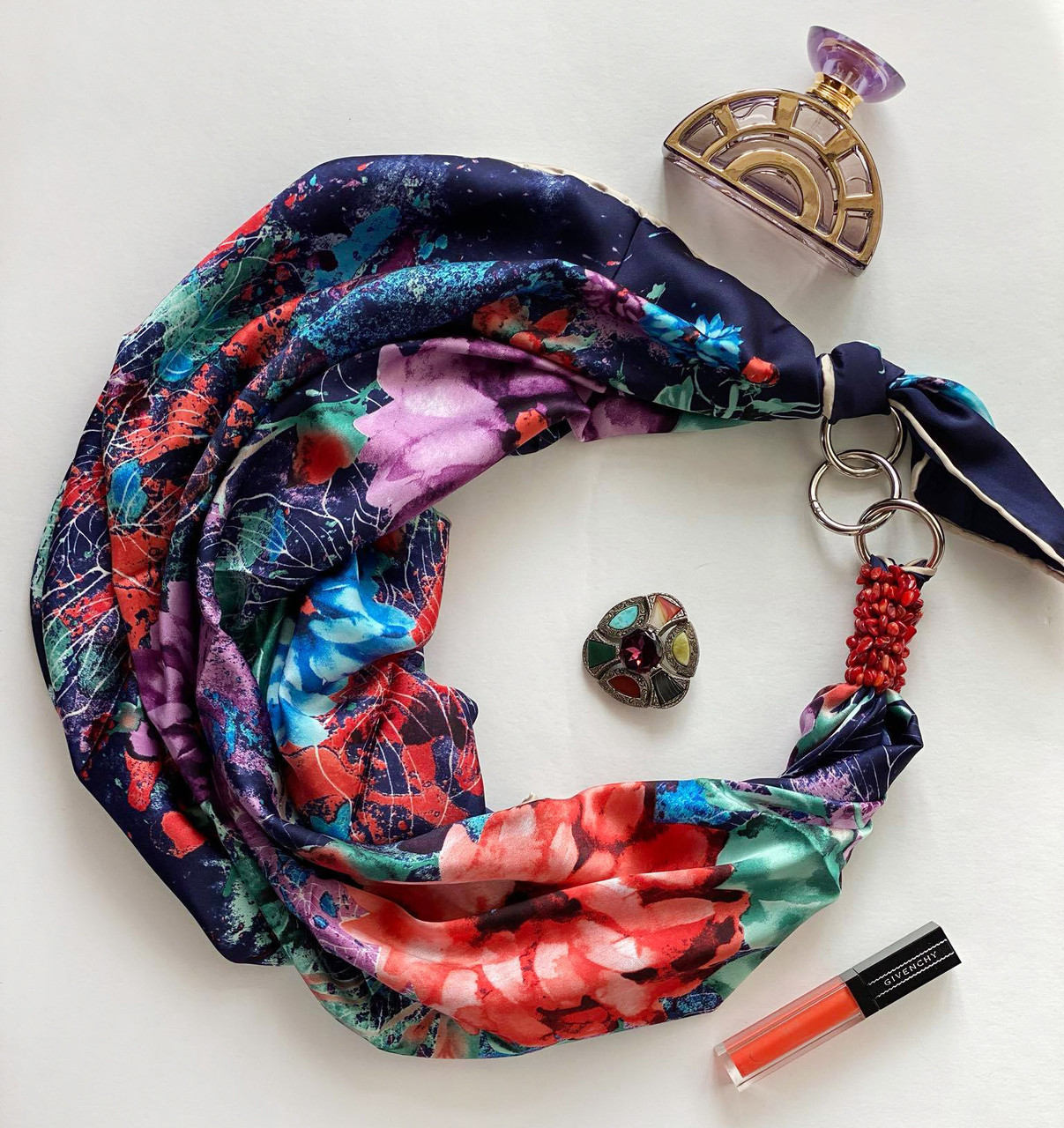 """Шовковий хустку """"літній сад"""" від my scarf, подарунок жінці. преміум колекція!"""