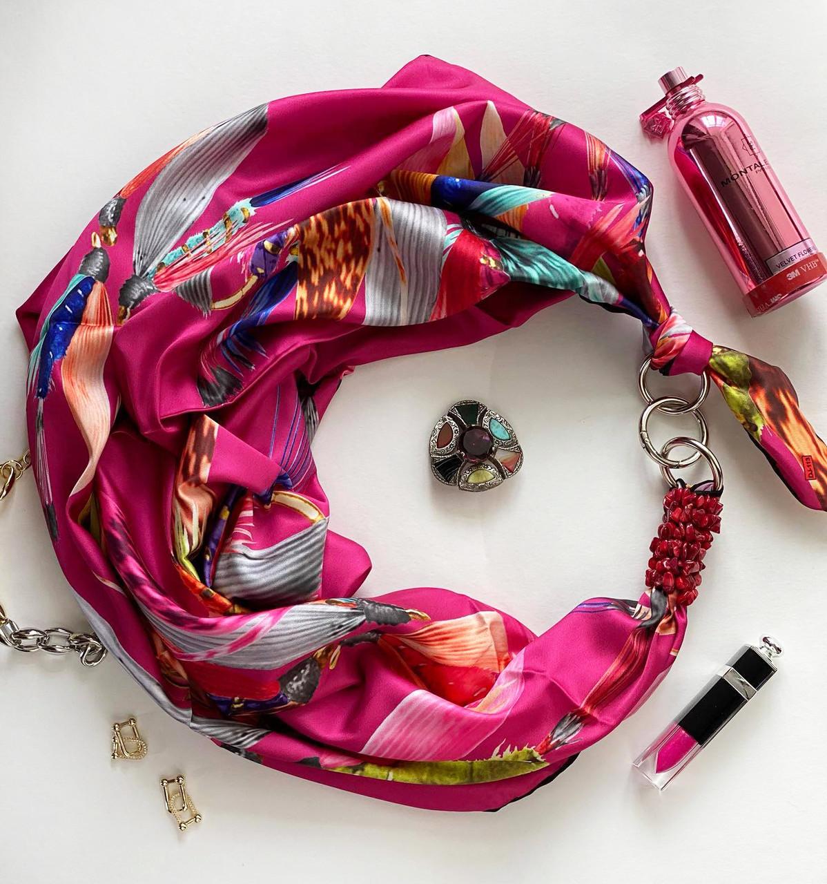 """Шелковый платок """"малиновое чудо"""" от бренда my scarf, подарок женщине. премиум коллекция!"""