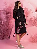 Женское стильное ботальное платье туника миди спортивного стиля с капюшоном р-ры от44 до 54.Новинки