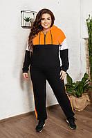 Спортивный костюм женский большого размера So StyleM брючный трикотажный Черный с оранжевым