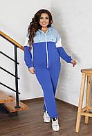 Спортивный костюм женский большого размера So StyleM брючный трикотажный Синий