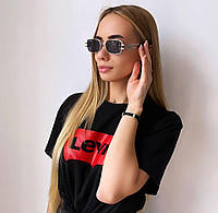 Жіночі сонцезахисні окуляри в срібній оправі, фото 1