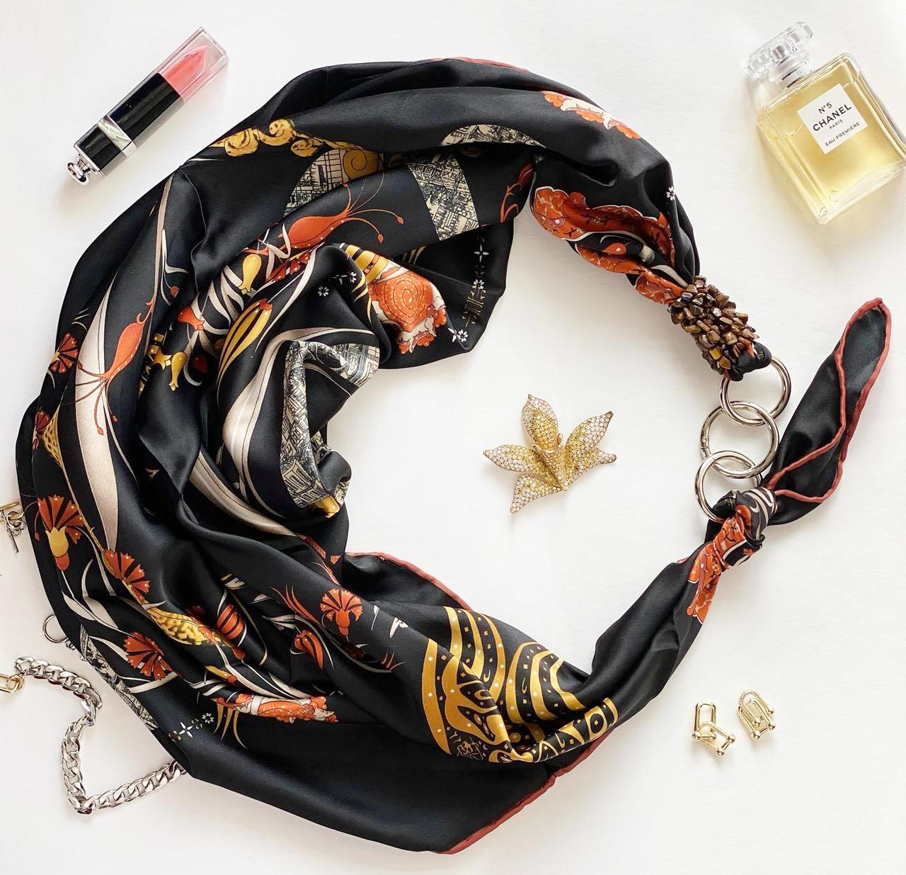 """Шелковый платок """"роковая страсть"""" от бренда my scarf, подарок женщине. премиум коллекция!"""