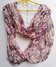 Хлопковый снуд  шарф в лёгкой жатке цветочный рисунок  73 х96 см