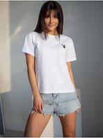Базовая женская футболка из хлопка белая с принтом вышивкой  Модные женские футболки 2021