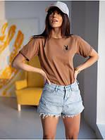 Базовая женская футболка из хлопка с принтом вышивкой  Модные женские футболки 2021