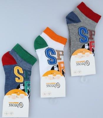 Шкарпетки дитячі укорочені бавовняні Bross з малюнком