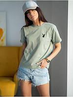 Базовая  хлопковая футболка с принтом вышивкой  Модные женские футболки 2021