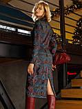Трикотажное платье-рубашка длиной миди черное с принтом, фото 4