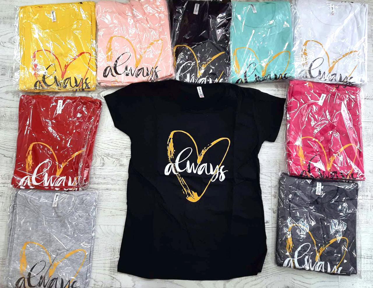 Жіноча футболка з сердечком always 42-46 (в кольорах)
