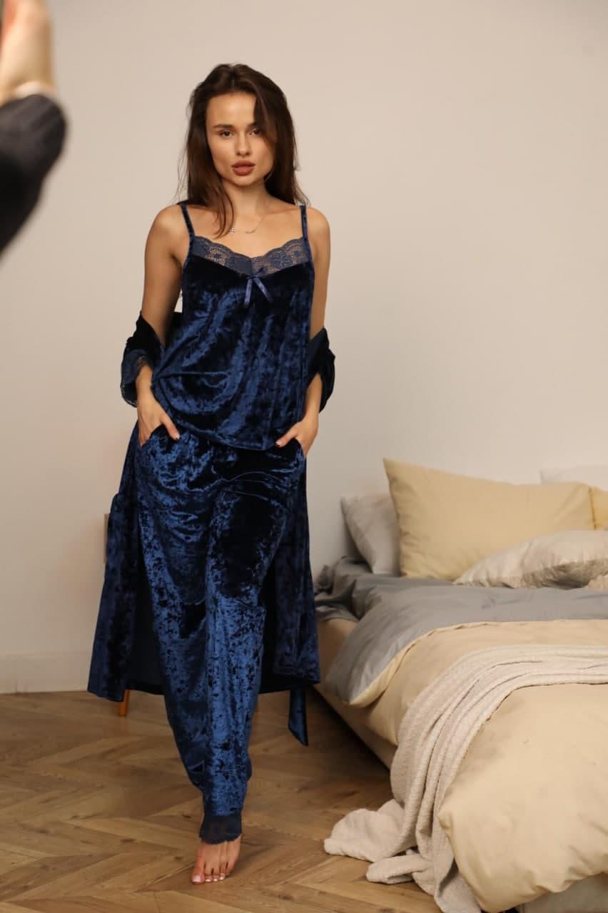 Домашній костюм трійка жіночий халат майка штани Nicoletta мармуровий велюр