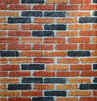 Стеновые 3D панели самоклеющиеся Sticker Wall 06 Панель 3D стеновая рыжий кирпич 69 см X 78 см  2000000554396