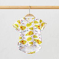 """Принтованная дитяча футболка для новонароджених """"Simply"""" Піца. Розміри: від 62 до 86"""