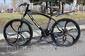 """Велосипед сталевий на литих дисках 26"""" BMW рама 17"""" Чорний"""