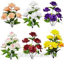 """Букет искусственный """"Роза пышная"""" 6 цветков, 9 см, 42 см (8 видов)"""