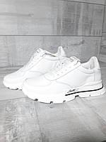 Женские белые кроссовки из натуральной кожи. Жіночі білі шкіряні кросівки.