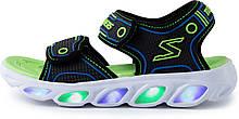 Сандалии для мальчиков Skechers Hypno-Splash, черный/голубой/зеленый, 27
