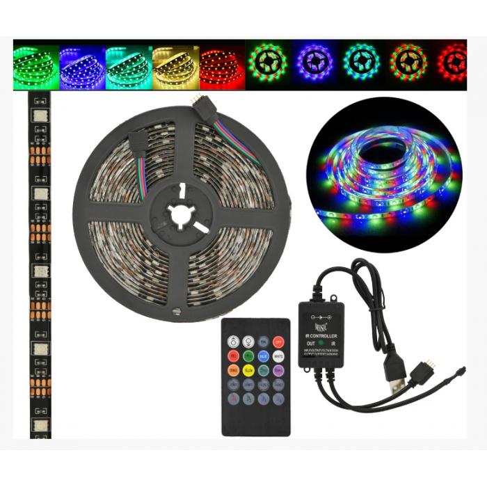Стрічка світлодіодна в силіконі на клейкій основі (вологозахищена) RGB Music 5050 5 метрів