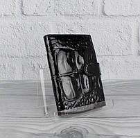 Обложка для прав, паспорта кожаная  лаковая черная Desisan 102-87 Турция
