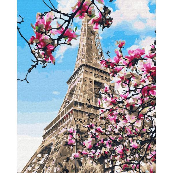 Картина по номерам Эйфелева Башня в магнолиях Париж Brushme Раскраска Набор для рисования 40х50 см (57893)