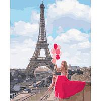 Картина по номерам Девушка с шарами в Париже Эйфелева башня Rainbow Art Раскраска Набор для рисования 40х50 см