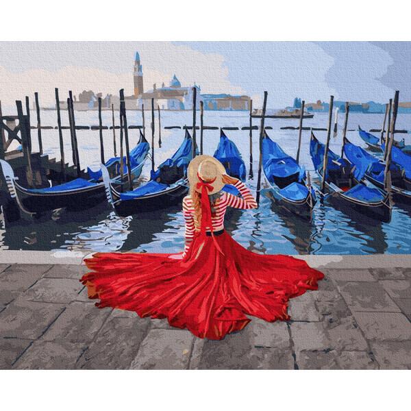 Картина по номерам Девушка в шляпе в Венеции Rainbow Art Раскраска 40х50 см Набор для рисования (57912)