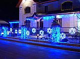 Новогодняя гирлянда / Led Лента / Светодиодная СНЕЖИНКА (скоба) обмотанная светящимся проводом 3 м  (7194-M), фото 2