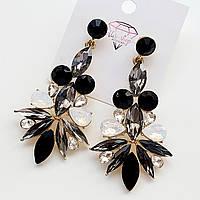 Сережки з сіро-чорним камінням
