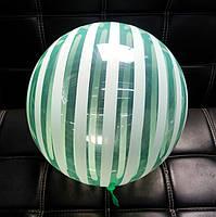 Шар бабл bubble полосатый зелёный 45 см (Китай)