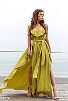 Жіноче плаття максі лайм на тонких бретелях (3 кольори) НА/-4039