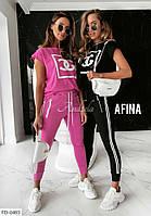 Прогулочный костюм женский модный спортивный на лето с футболкой большие размеры 48-54 арт. 495