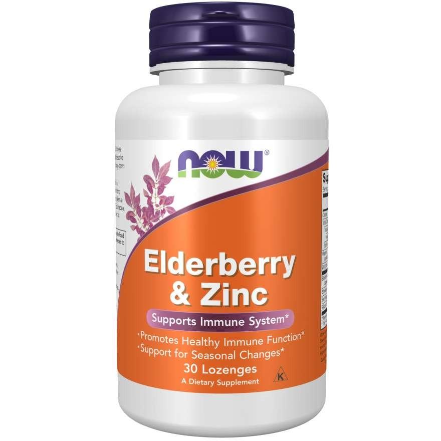 Витамины Now Foods Elderberry and Zinc Нау Фудс Бузина и цинк 30 таблеток США