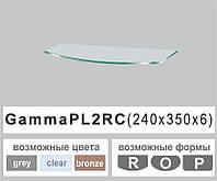 Полочка стекло настенная навесная радиусная Commus PL2 RC (240х350х6мм), фото 1