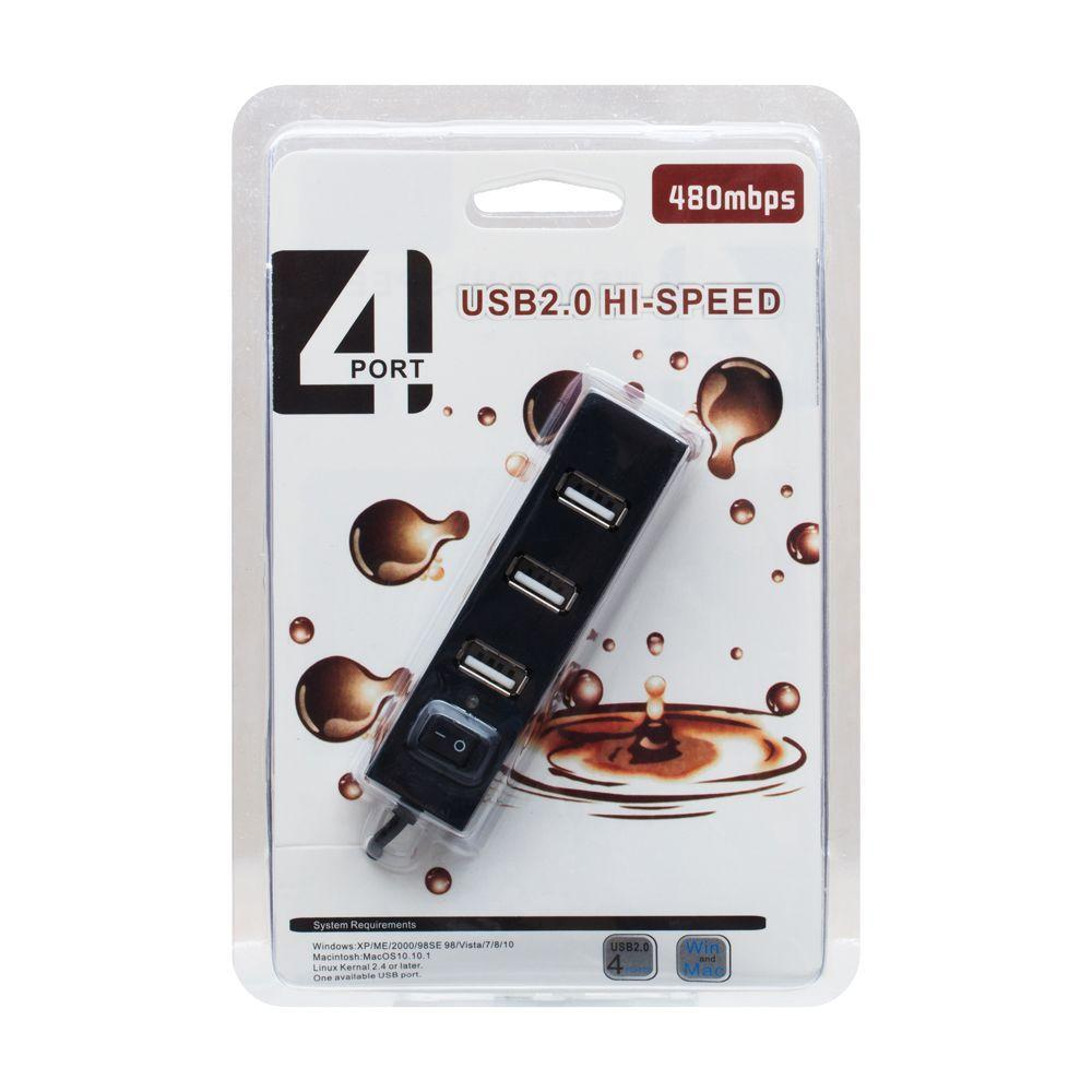 USB HUB Lesko RS021 4 USB 2.0 Hi-Speed з перемикачем, розгалужувач, Black