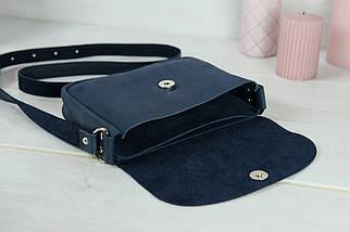 Сумка жіноча. Шкіряна сумочка Мія, Вінтажна шкіра, колір Синій, тиснення №4, фото 3