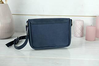 Сумка женская. Кожаная сумочка Мия, Винтажная кожа, цвет Синий, оттиск №4, фото 2