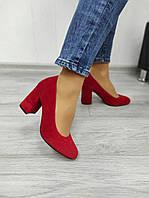 Червоні замшеві туфлі накаблуке, фото 1