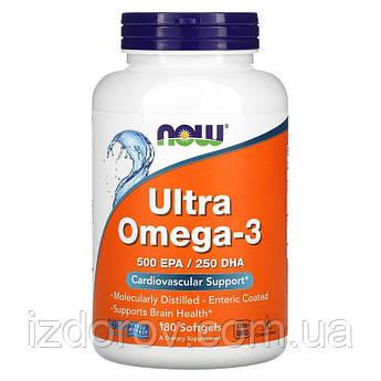 Now Foods, Ультра Омега 3, 500 ЭПК/250 ДГК, Ultra Omega-3, 180 мягких таблеток