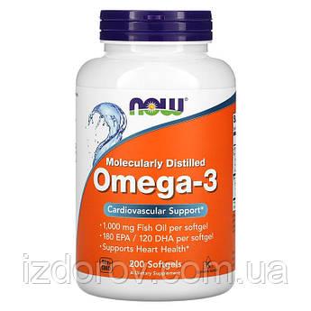 Now Foods, Омега-3, 180 EPA/120 DHA, Omega 3, 200 мягких таблеток