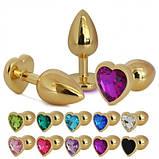 Анальная пробка металл сердечко золотая М + мешочек, фото 4