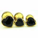 Анальная пробка металл сердечко золотая М + мешочек, фото 6