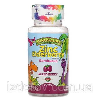 KAL, Растворимые таблетки ActivMelt с Цинком и Бузиной для детей, смесь ягод, 90 микротаблеток. США